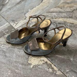 Vintage Ferragamo Blue Suede Ankle Strap Sandal